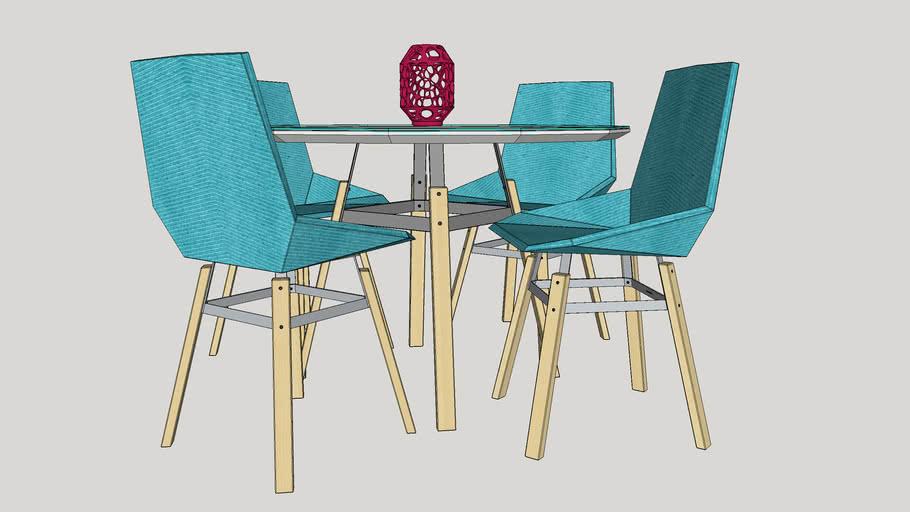 Green table_laca_com cadeiras_By Marquinhos S.