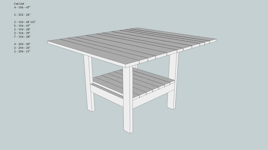 Large Square Picnic Table