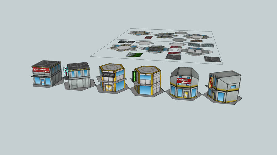 Battletech Sci-fi Light Commercial Buildings at Game Scale.