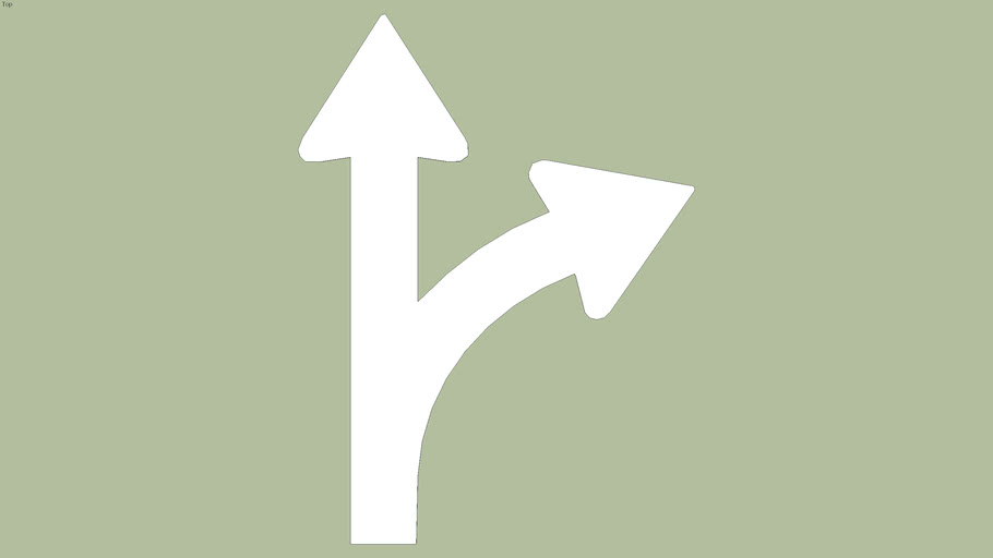 Right and straight traffic movement road paint sign