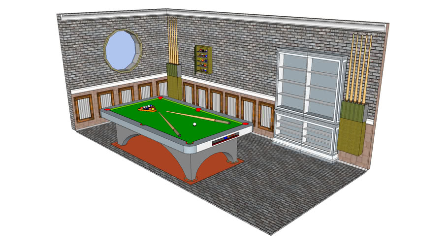 Pool Table with Cue Stick Racks & Balls