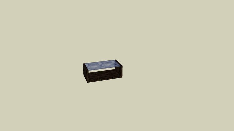 table basse wengé U avec plateau de verre