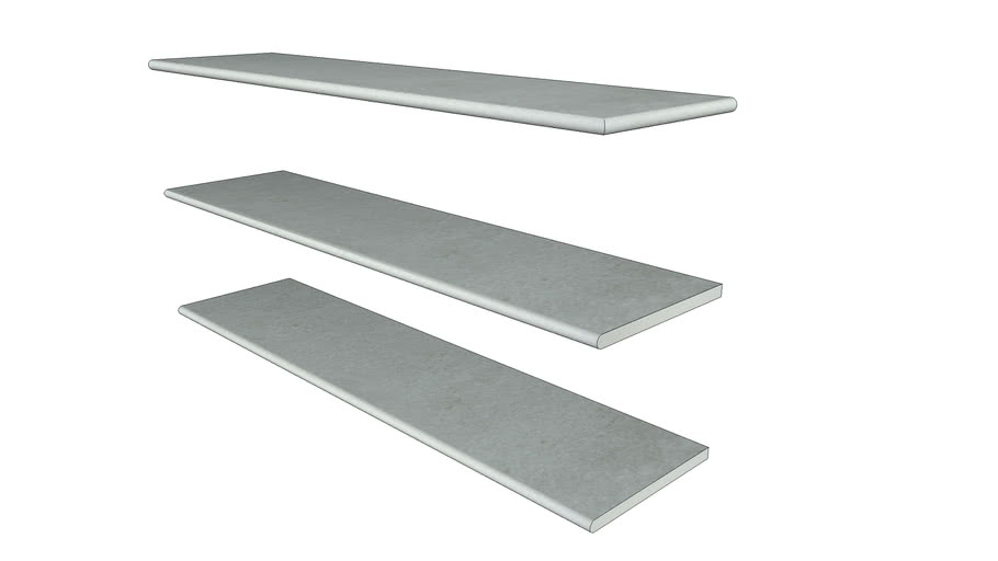 Silver Grey Porcelain Step 1194 x 290 with 20mm Bullnose Edge