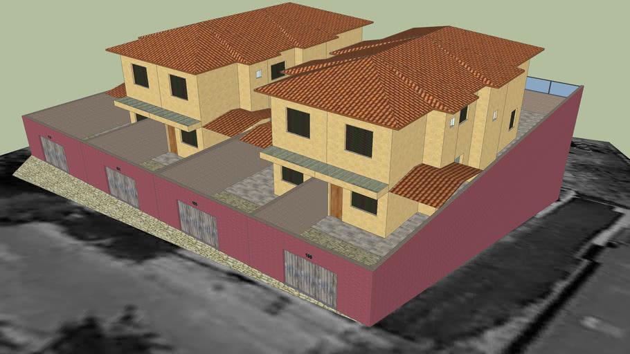 Projeto executado de 4 casas geminadas residenciais