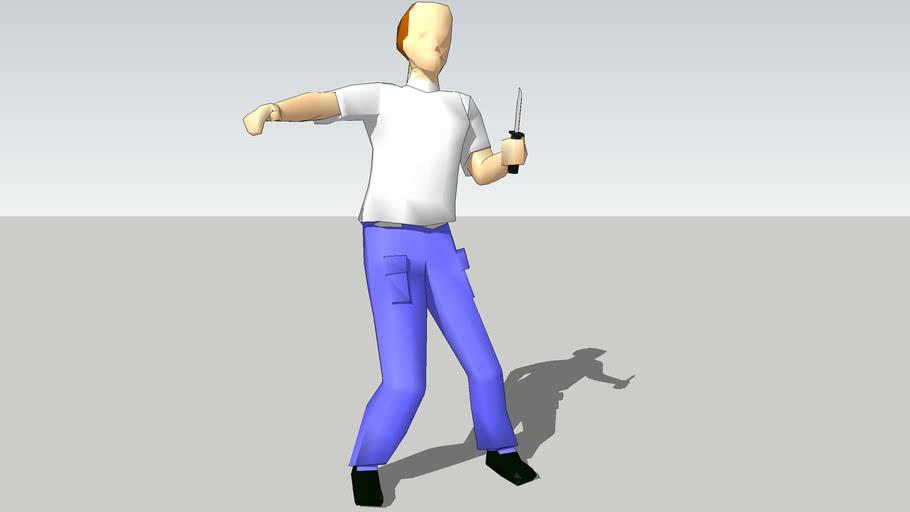 Man with knife threatening 3D 470mb