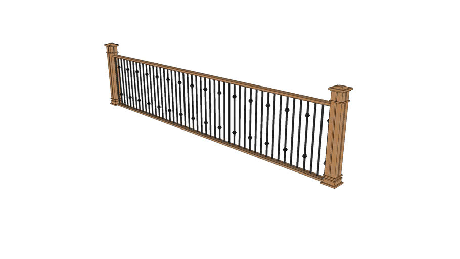 Wood Railing with Metal Spindles