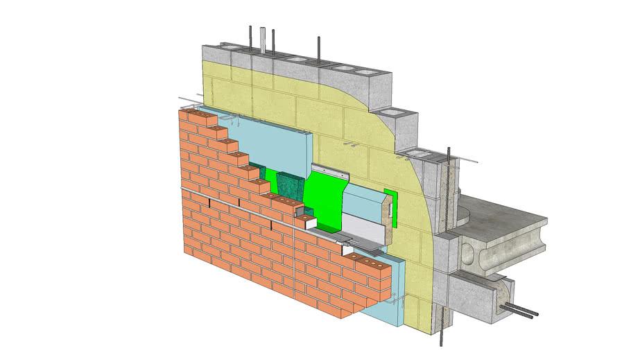 01.030.0705 Shelf angle | Anchored brick veneer, CMU backing, shelf angle w bracket type standoff