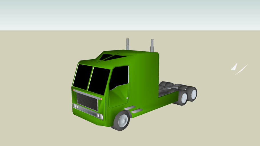 Green tractor truck with  trailer
