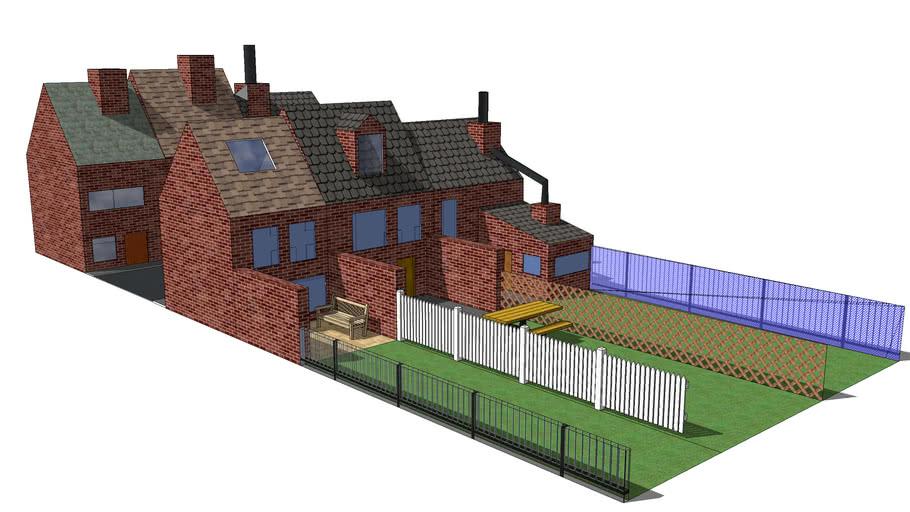 Huizen met straat en tuin.