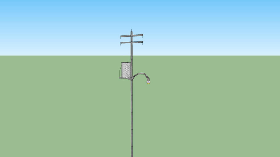 Medium-duty electric pole with telephone line and transformer (50kv)