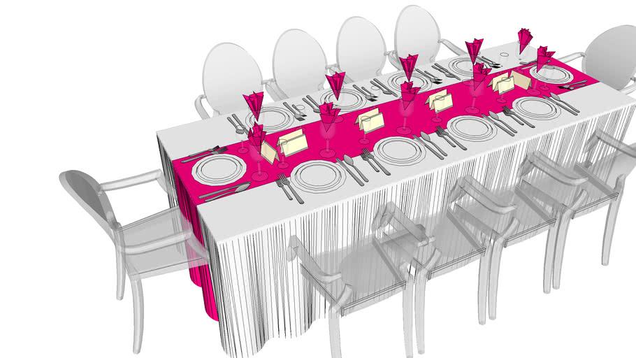 Table Rectangulaire Wedding 8 Personnes 3d Warehouse