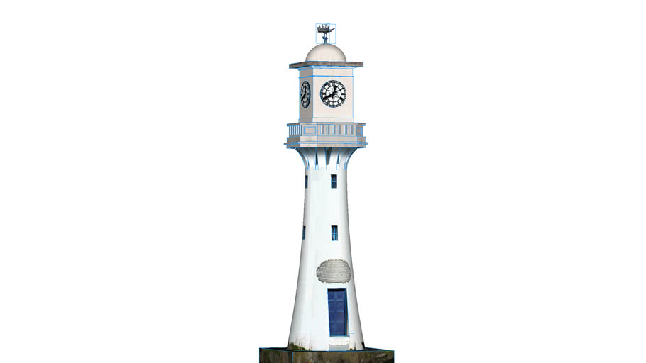 Scott Memorial Lighthouse Clock Tower, Roath Park Lake, Cardiff, UK