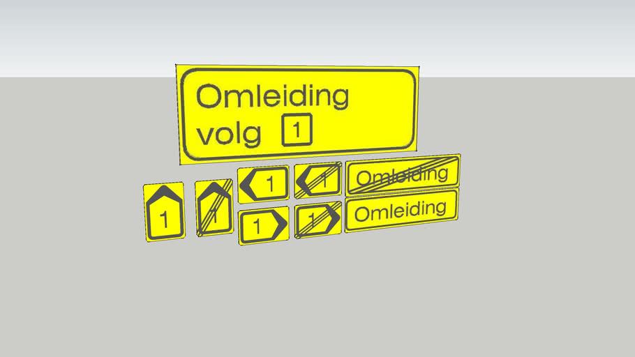 Diversen nederlandse verkeersomleidingsborden