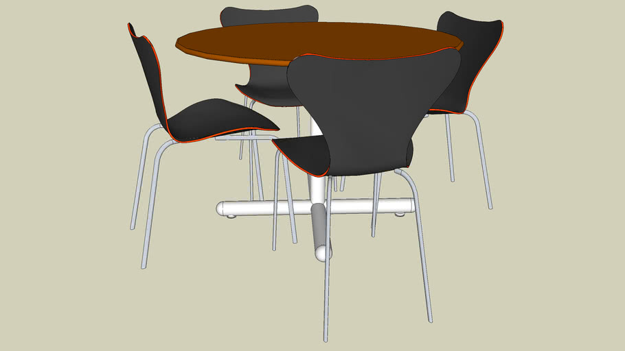 Table Ronde Et 4 Chaises 3d Warehouse