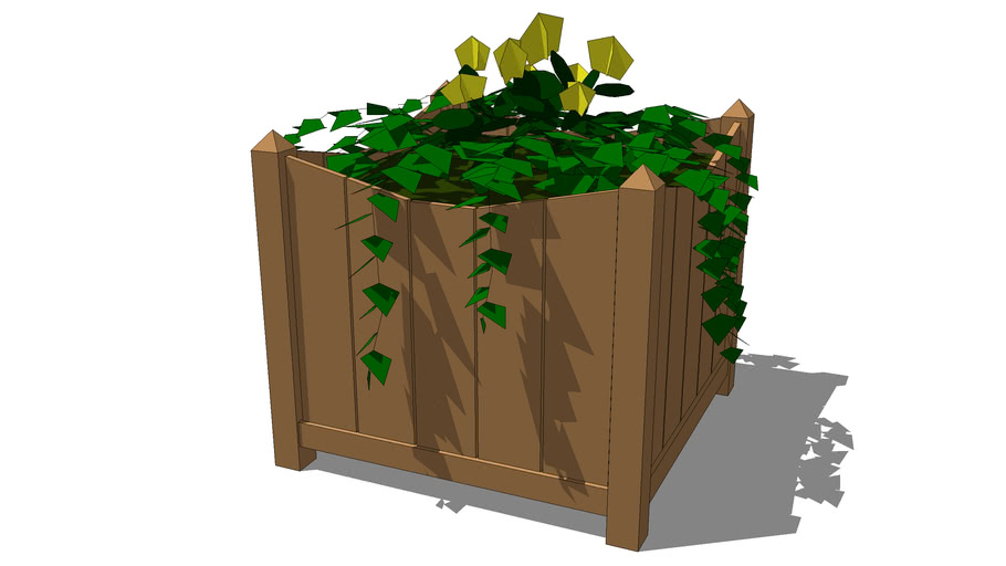 Wood square planter