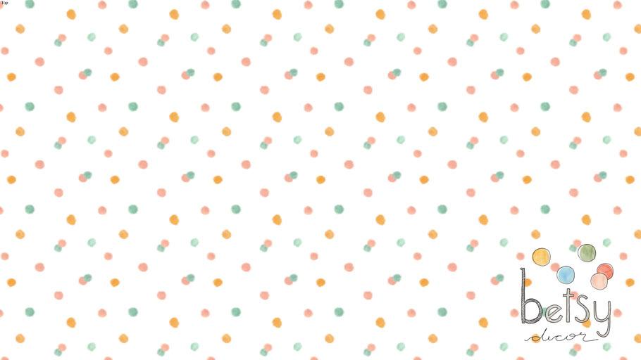 Betsy Decor - Papel de Parede Abstrato Bolinhas Verde Menda