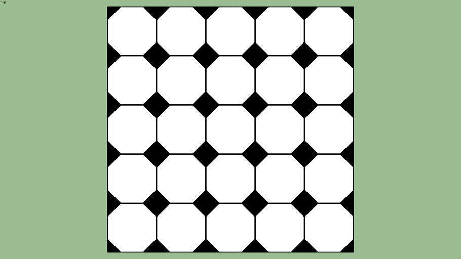 White Octagon And Black Dot Bathroom Floor Tile Pattern
