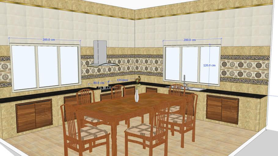 Kitchen Thai room tiles design - vintage style