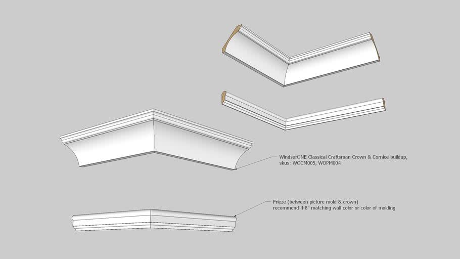 WindsorONE_Classical_Craftsman_Moldings-Crown_and_Cornice_buildup.skp