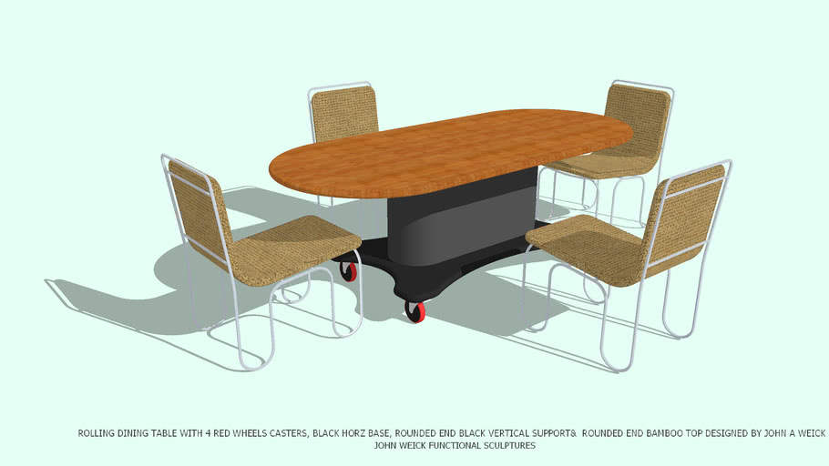 TABLE DINING ROLLING ROUNDED VERT SUPPORT TOP CHAIRS BY JOHN A WEICK RA