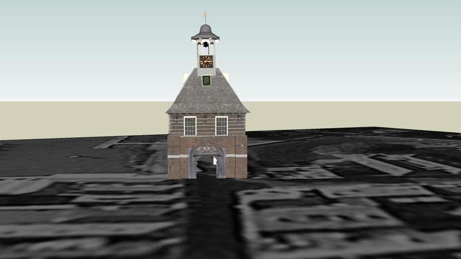 De oude stads poort buiten de waterpoort in gorinchem