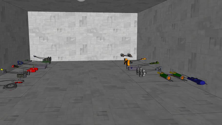 a hanger full of podracers