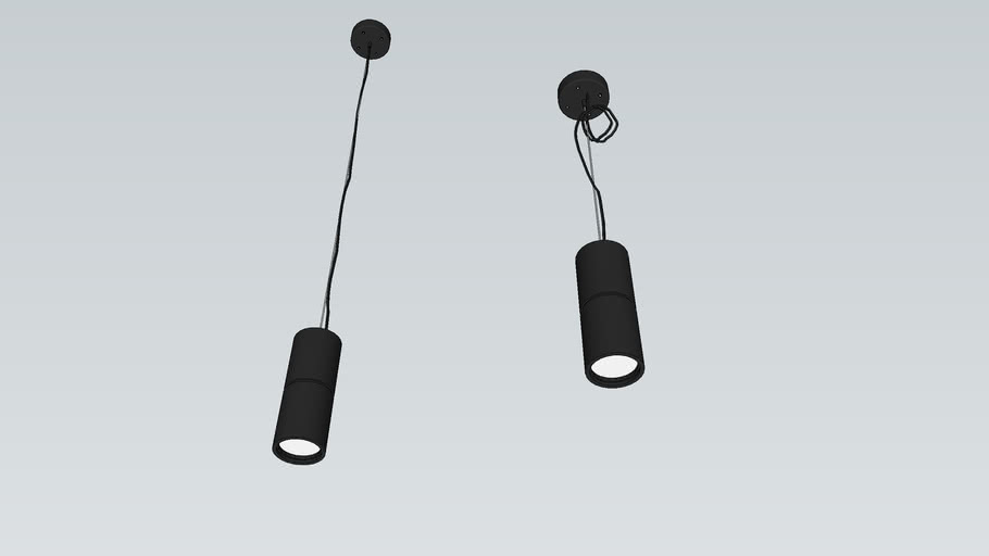 Hanging Down light Tube Shape Black by Pooh