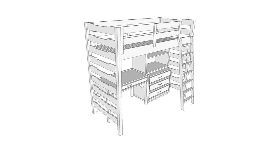 loft bed with desk and storage кровать чердак Шакоич