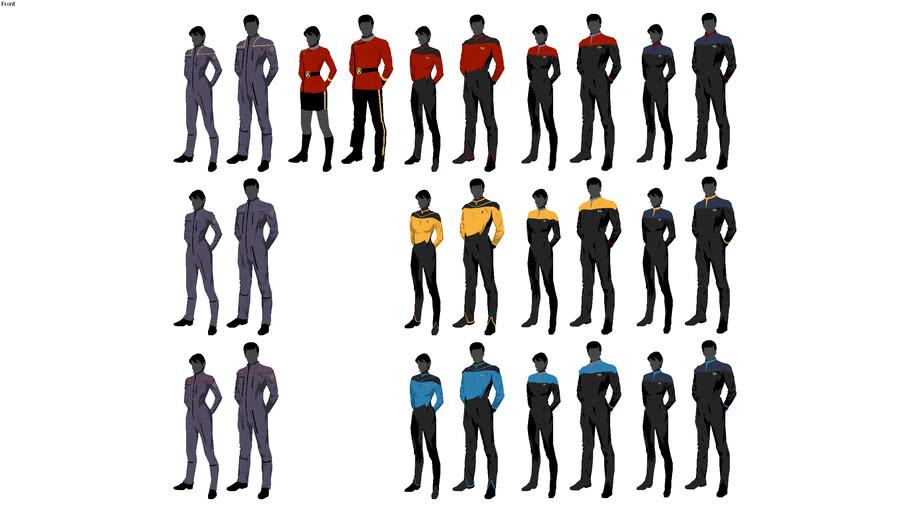 Star Trek Uniform Silhouettes (22nd, 23rd and 24th century)
