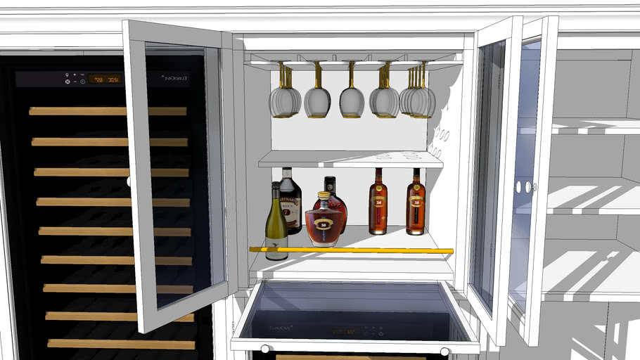 Wine cabinet and wine glass hanging
