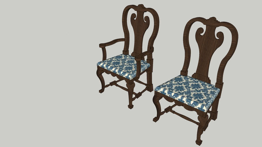 Queen Anne Armchair And Side Chair