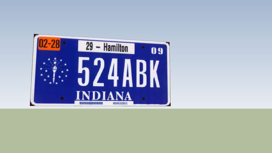 Indiana LIcence Plate