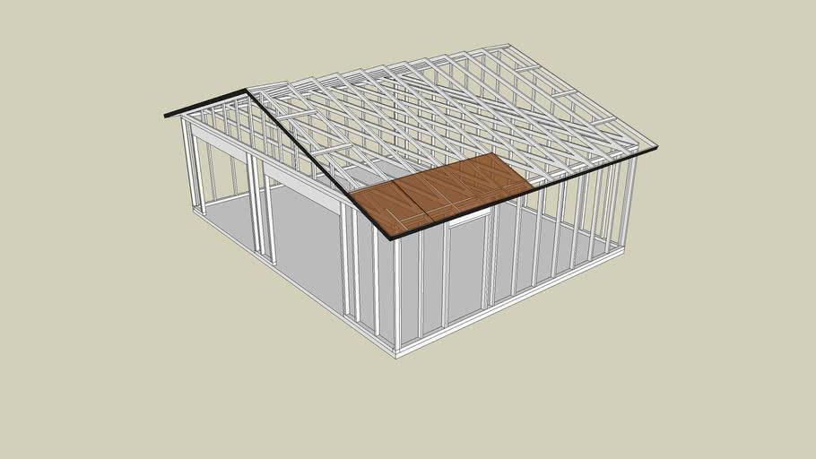 Two car garage with side storage