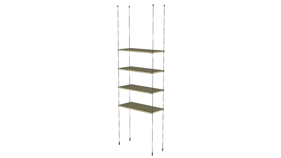 Cable Ceiling to Floor 4 Wood Shelves - Base Unit