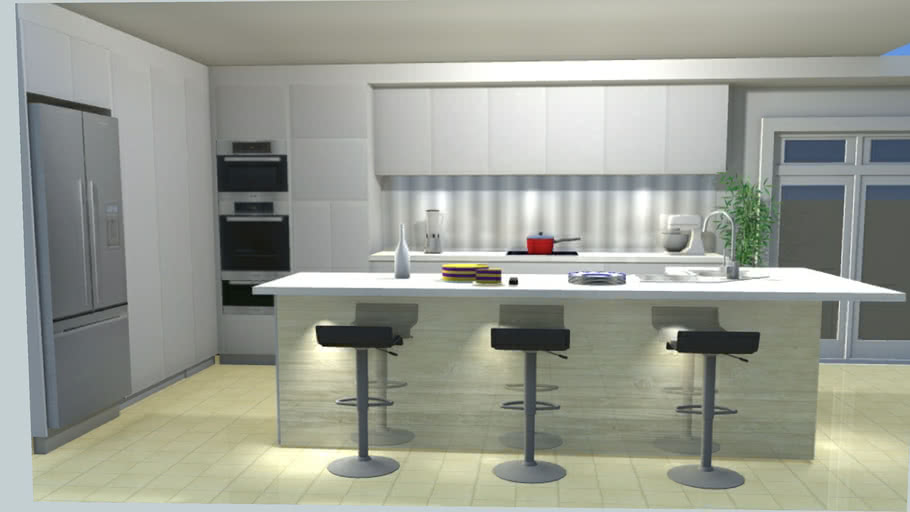 Kitchens Kitchen Modern With L Shape Island Bench 3d
