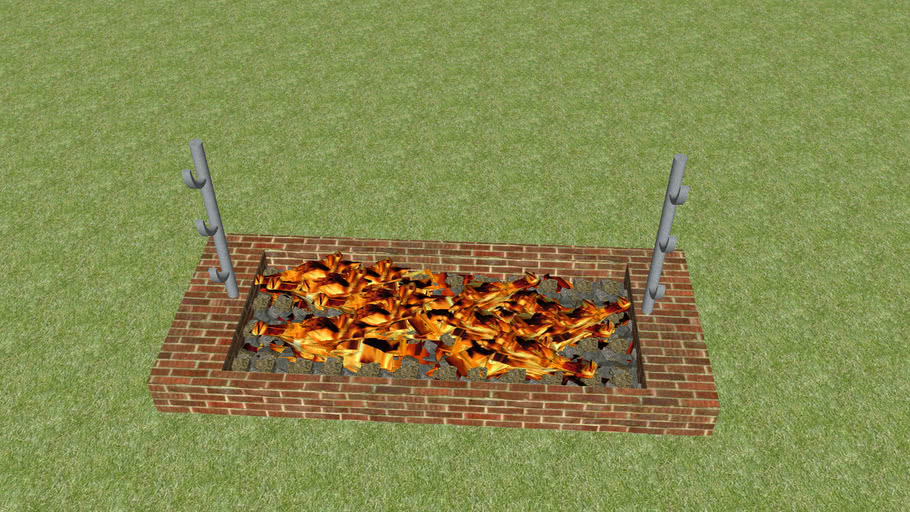 Charcoal pit with fire