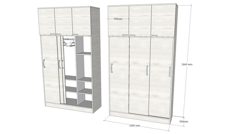 3 Door Wardrobe With Top Cabinet