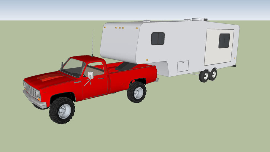 Red 1980's Chevy 4x4 with a simple camper
