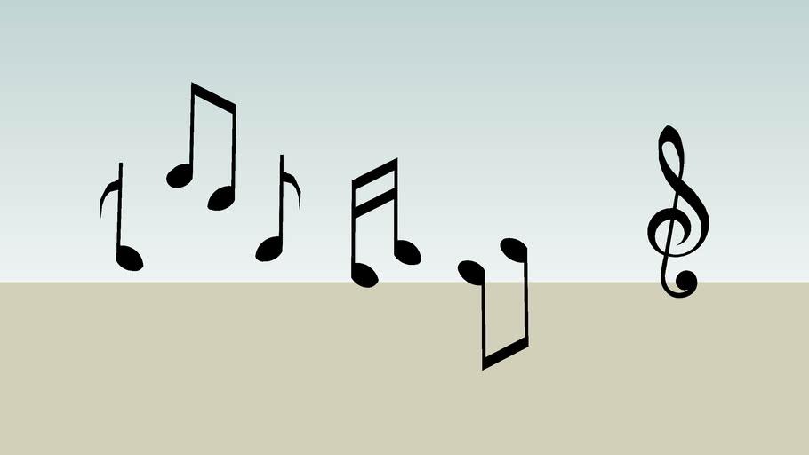 Silhouette 2d Siluet Music Notes Written Muzik Notalar Nota 3d