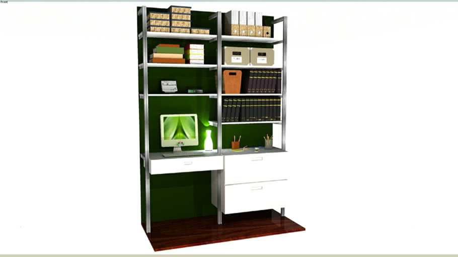 """65"""" Wide 2 Bay Pole Mounted Desk with Pull-Out Keyboard and File Drawers"""