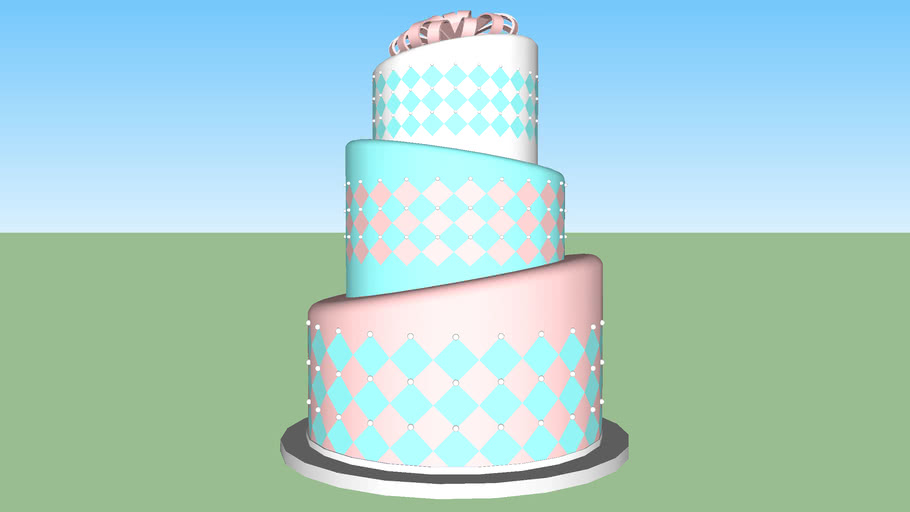 Cake with harlequin pattern and pearls
