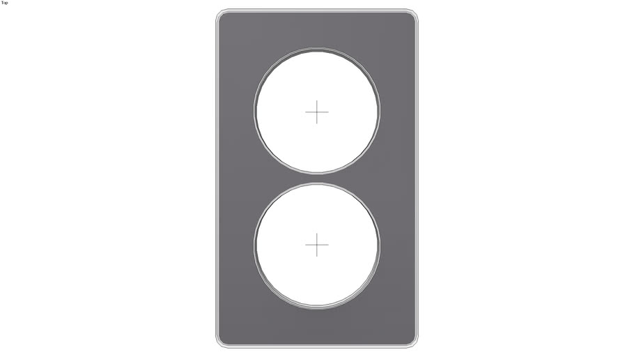 Odace You Solid. Cover frame 2-gang Vertical 57 mm Solid black for aluminium insert