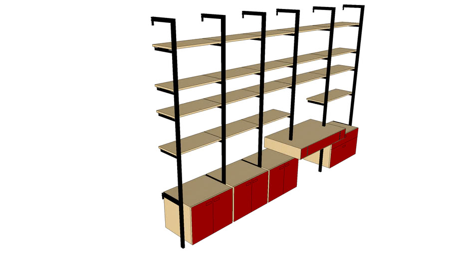 ISS Designs Modular Shelving-140W Pole Mounted System with Floating Desk