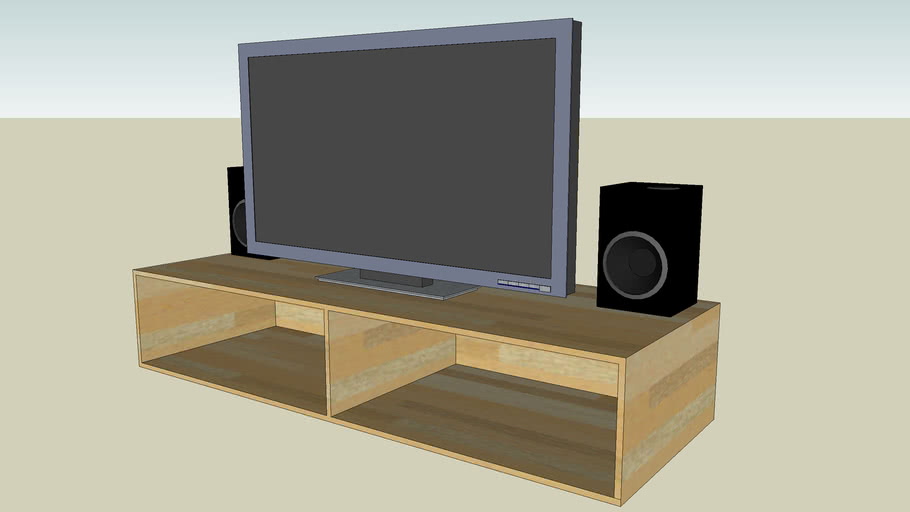Plasma Tv With Bench And Speakers