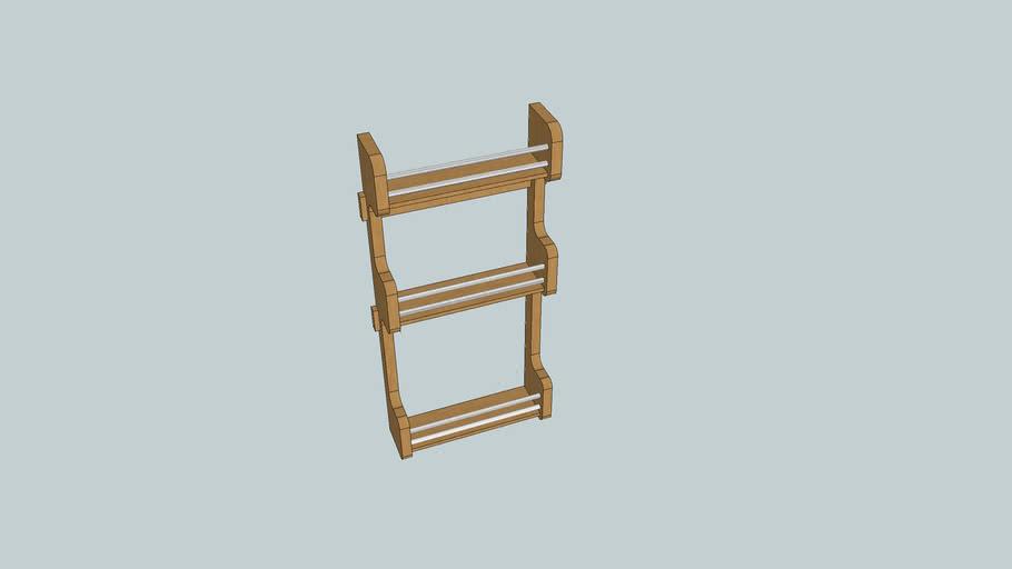 Cabinet door mount wood spice rack