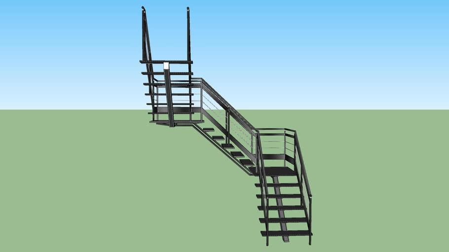 escalier metalique noir