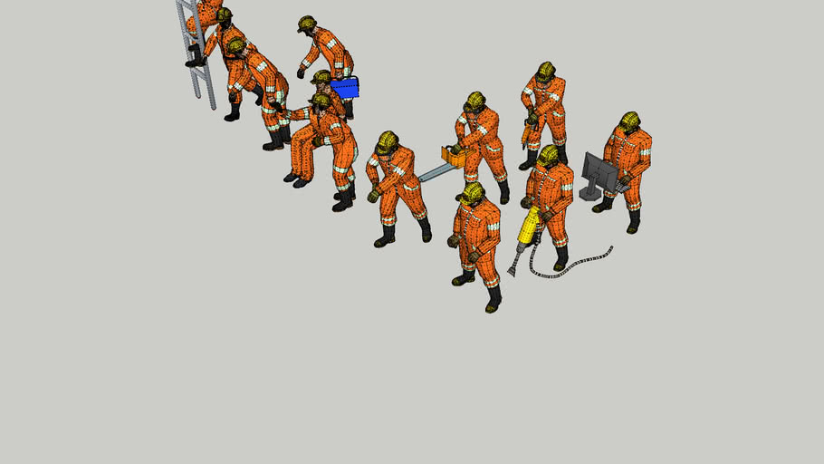 3D Construction workers
