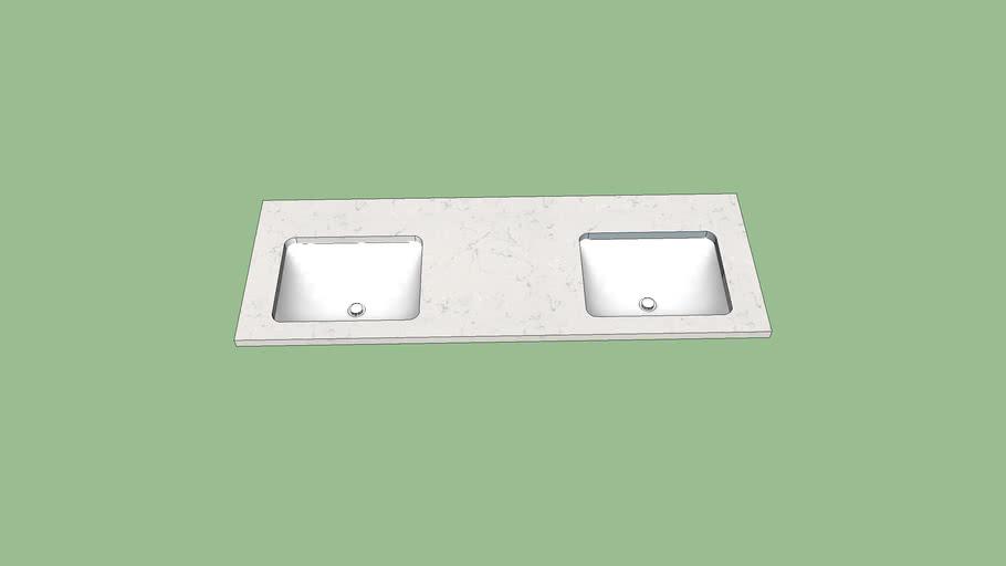 61x22 Double Bowl Vanity Top
