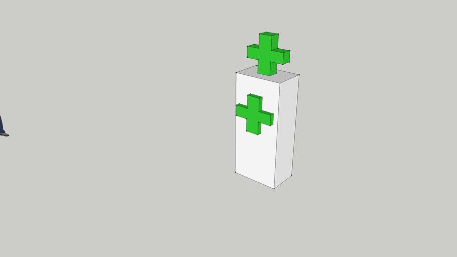 Tombstone with pharmacy cross