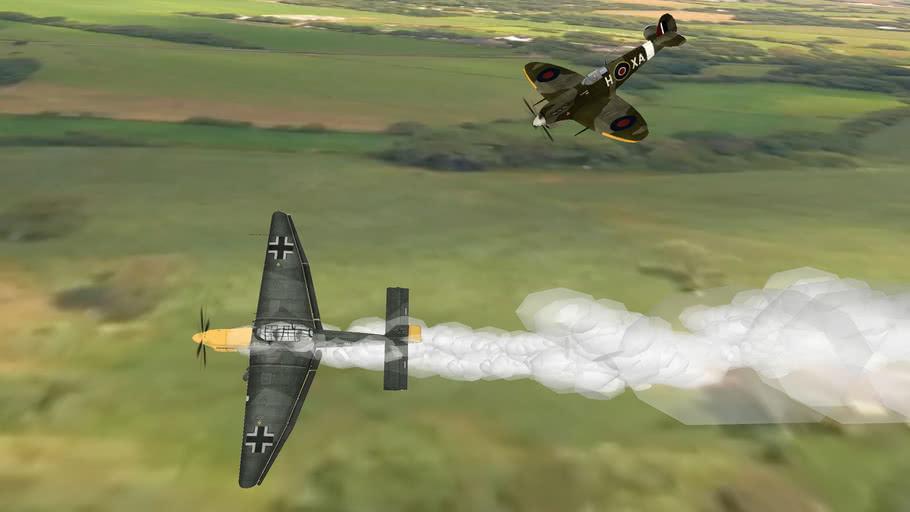 WW2+SPITFIRE+VS+STUKA